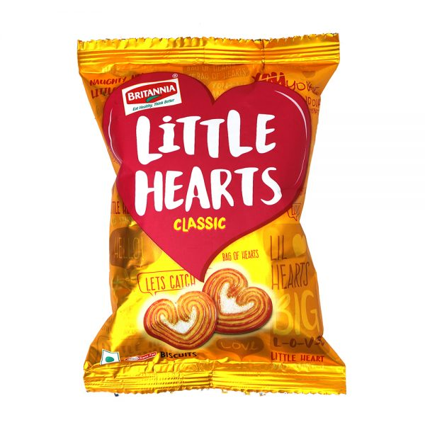 Britannia Little Hearts Biscuits - Classic, 75g Pouch