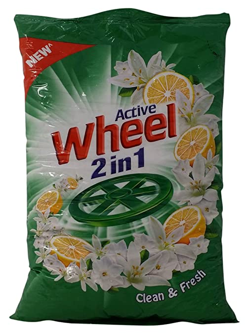 Wheel Active 2 in 1 Detergent Powder - Clean and Fresh (Green), 1kg Pouch